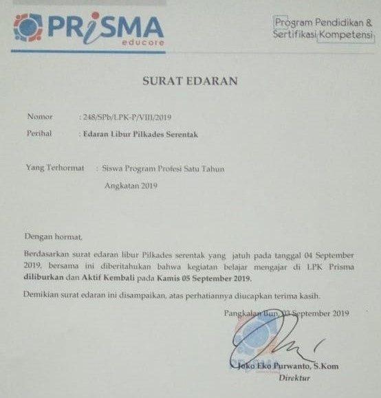 Peserta Didik LPK Prisma Libur saat Pilkades Serentak