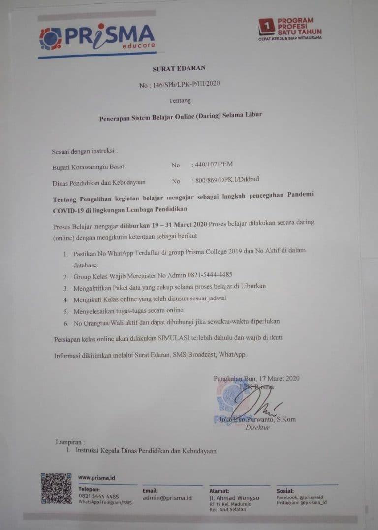 LPK Prisma Liburkan Peserta Didik Cegah Pandemi COVID-19